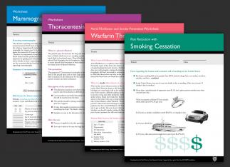 Series of information cards for patients